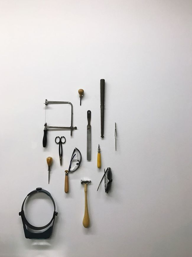 Jewlers tools on wall. Still Life Variation Studio Shot White Background No People Choice Large Group Of Objects Work Tool Tool Hand Tool Craftsmanship  Crafts
