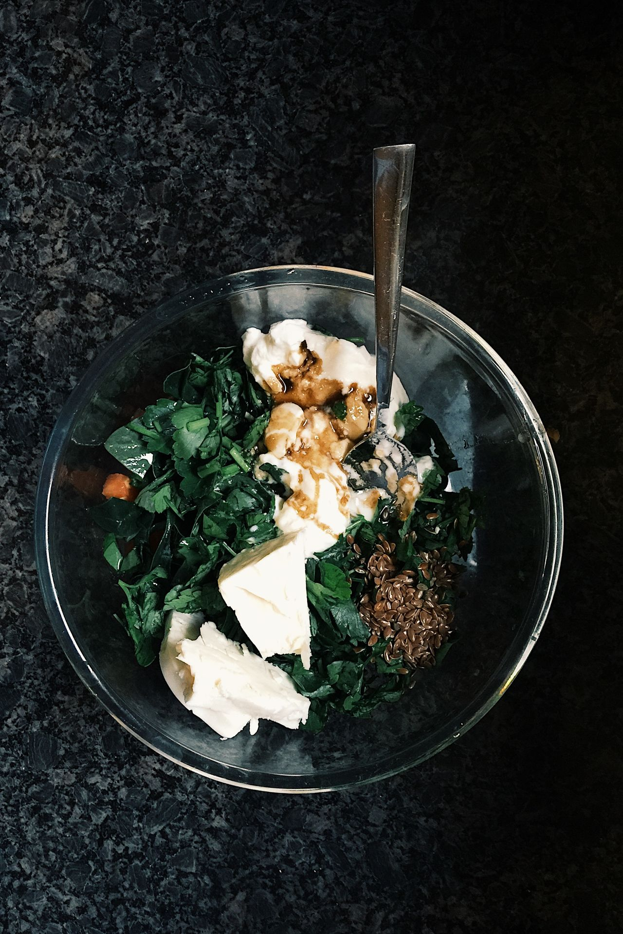 Spinach, yogurt, flax seed and chickpeas salad Cooking Delicious Flax Seeds Food Food And Drink Foodporn Healthy Healthy Eating Healthy Lifestyle Home Cooking Ingredient Meal Organic Recipe Salad Spinach Turkey Vegetables Vegetarian Food Yogurt Yummy
