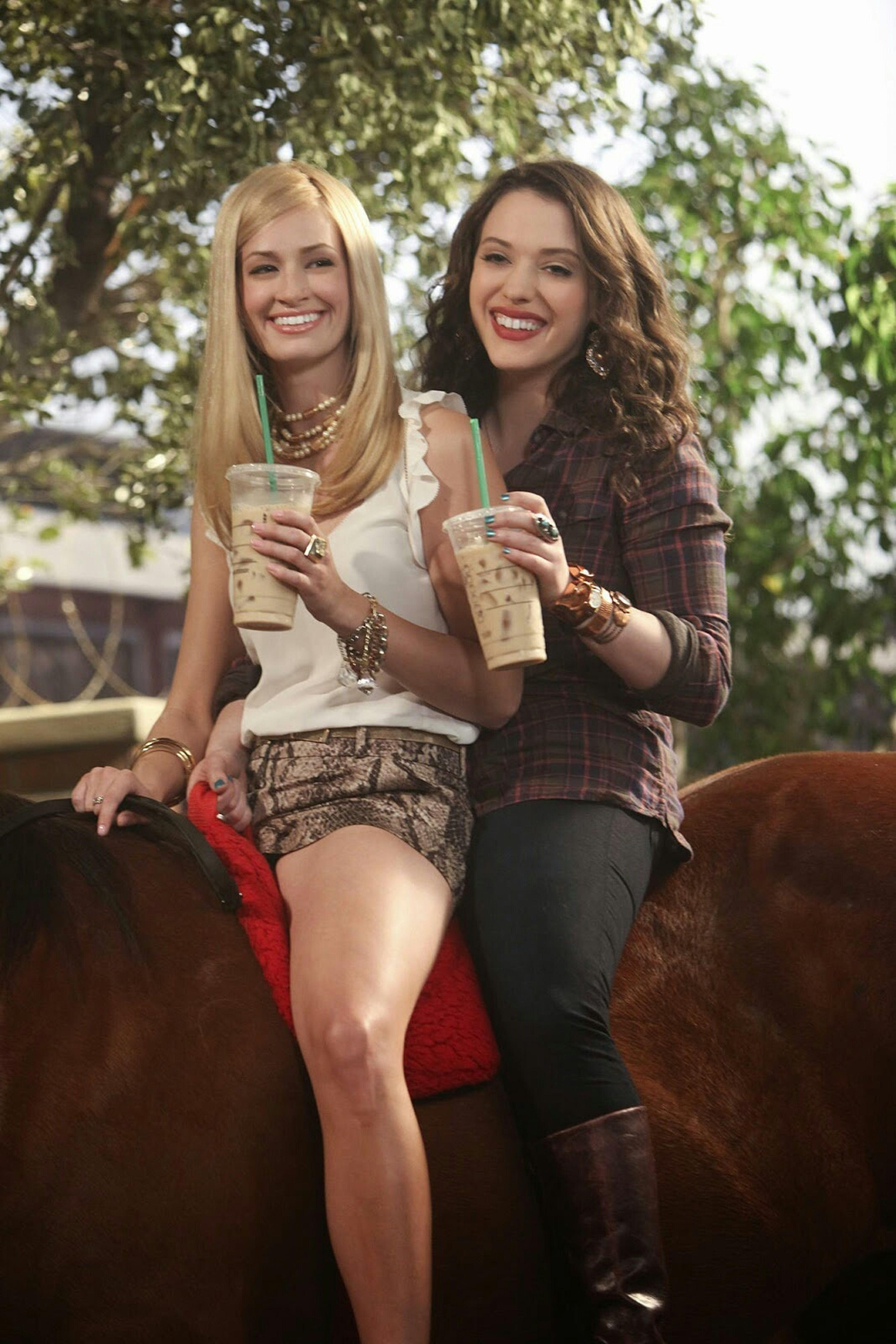 Watching 2 Broke Girls 2 Broke Girls Max Black Caroline Channing Kat Dennings Beth Bers