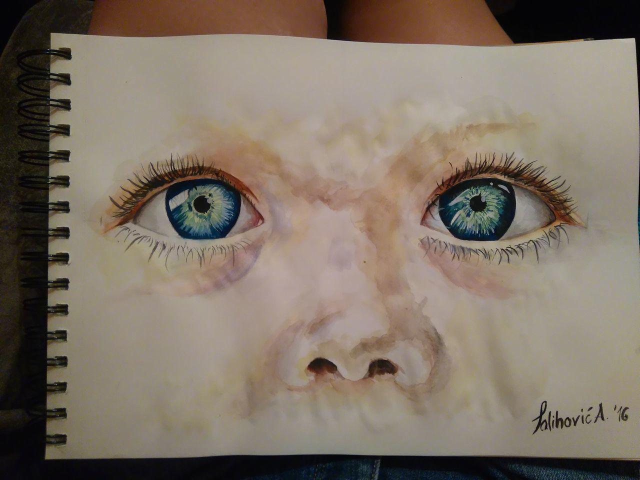 Eyes Realistic Art Drawing Painting Aquarelle Baby Eyes