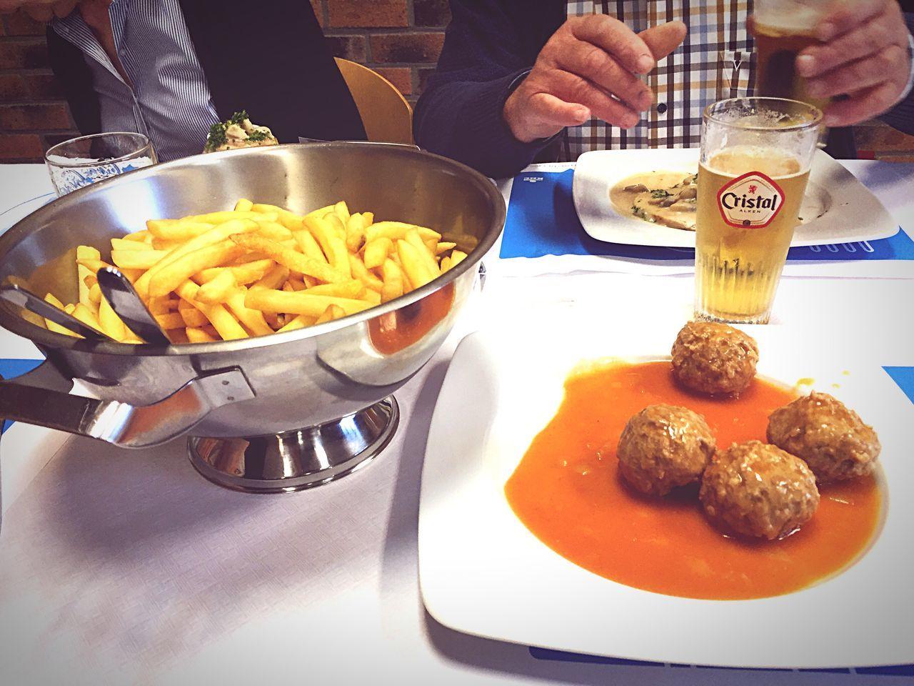 Authentic belgian food French Fries Meatballs Beer Enjoying Life