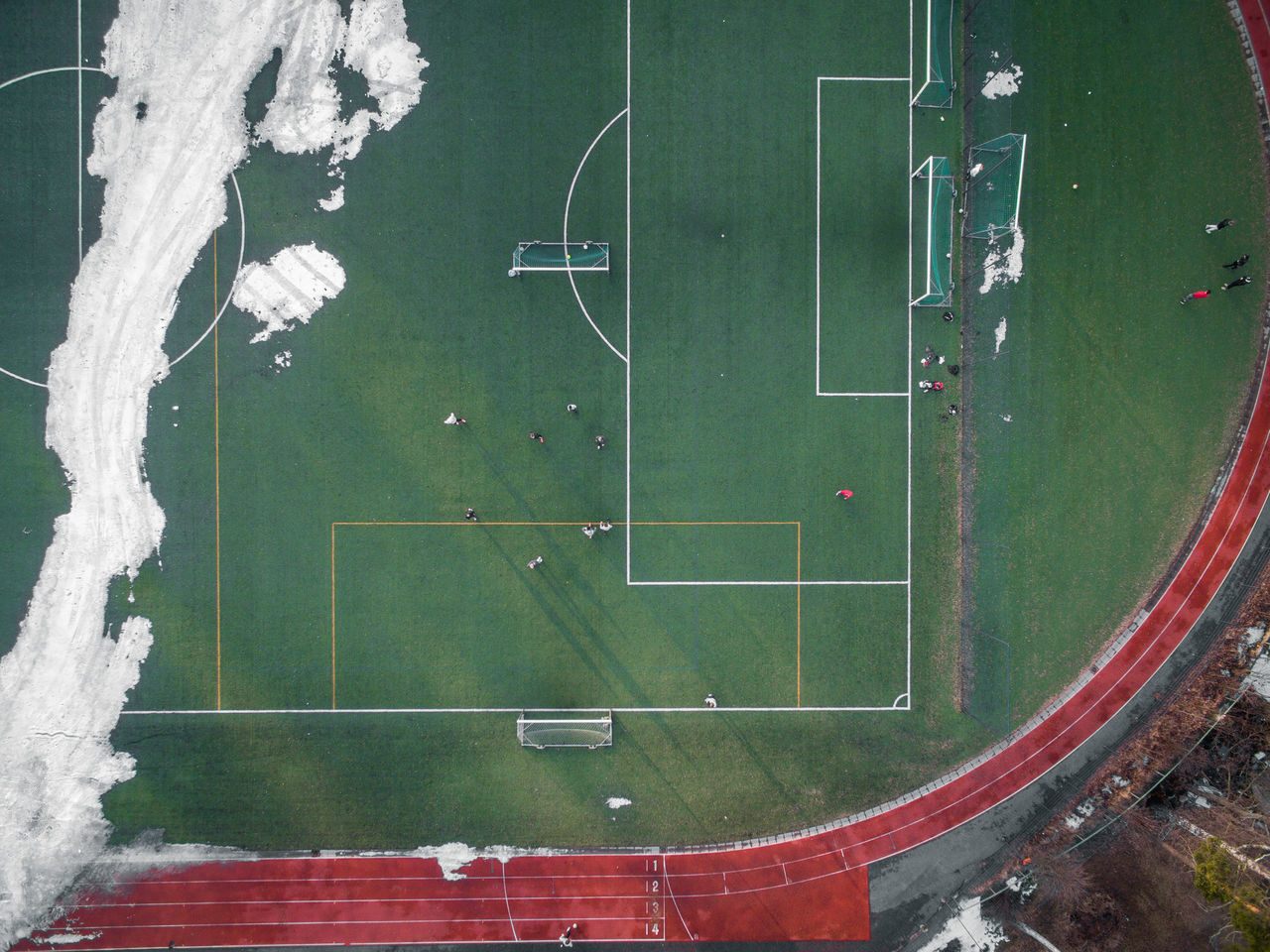 Aerial View City City Life Day Drone  Finland Fly Flying High Football Football Pic Helsinki High Angle View No People Outdoors Pitch Snow Sport Spring Winter