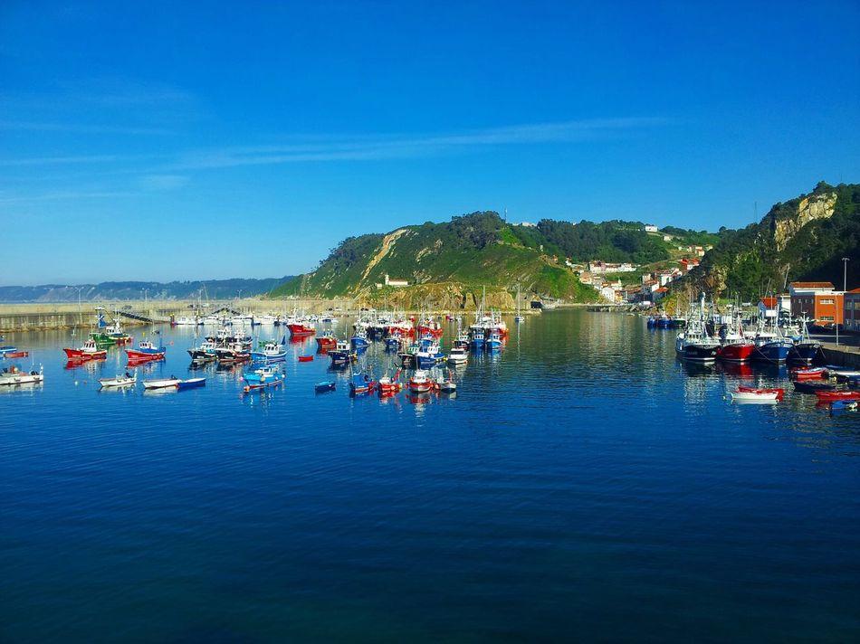 Water Reflection Sky Boat Blue Sea Harbor Cudillero Asturias SPAIN España