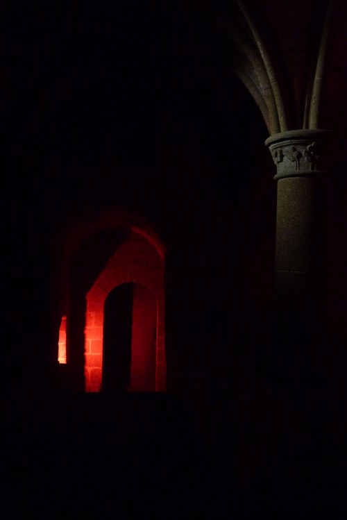 Arch Architecture Available Light Building Building Exterior Built Structure Church Dark History Illuminated Low Light Mont St. Michel Night No People Normandie France Red Silhouette Window Still Life Wallpaper