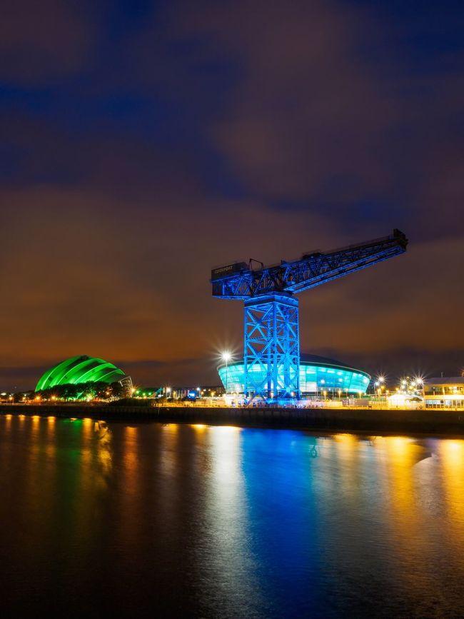 The River Clyde at night. RiverClyde Glasgow  Night Nightphotography Scotland Architecture Illuminated Finnieston Crane Pacificquay Clyde Ssehydro Armadillo Crane City Cityscape