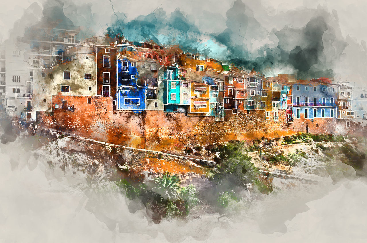 Digital watercolor painting of Villajoyosa town, Costa Blanca. Province of Alicante, Valencian Community, Spain Alicante Province Spain Altered Ancient Architecture Art ArtWork Colorful Costa Blanca Digital Art Digital Painting Digital Watercolor Digitally Generated Europe Famous Place Illustration Landscape Outdoors Painting SPAIN Town Travel Destinations Typical Village Villajoyosa Watercolor