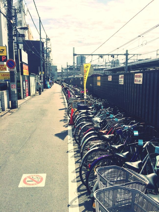 Transportation Architecture Mode Of Transport In A Row City Large Group Of Objects Outdoors Abundance Day Diminishing Perspective Tokyo,Japan Tokyo Street Photography Tokyo Days Bikes No Smoking