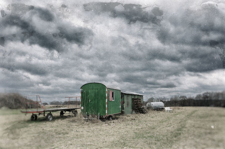 Farm scene in the Bergisches Land. Analog Style Architecture Beauty In Nature Built Structure Cloud - Sky Day Farm Machines GrungeStyle Landscape Lifeguard Hut Nature No People Old Outdoors Overcast Ricoh GR II Scenics Sky Storm Storm Cloud Thunderstorm Weather