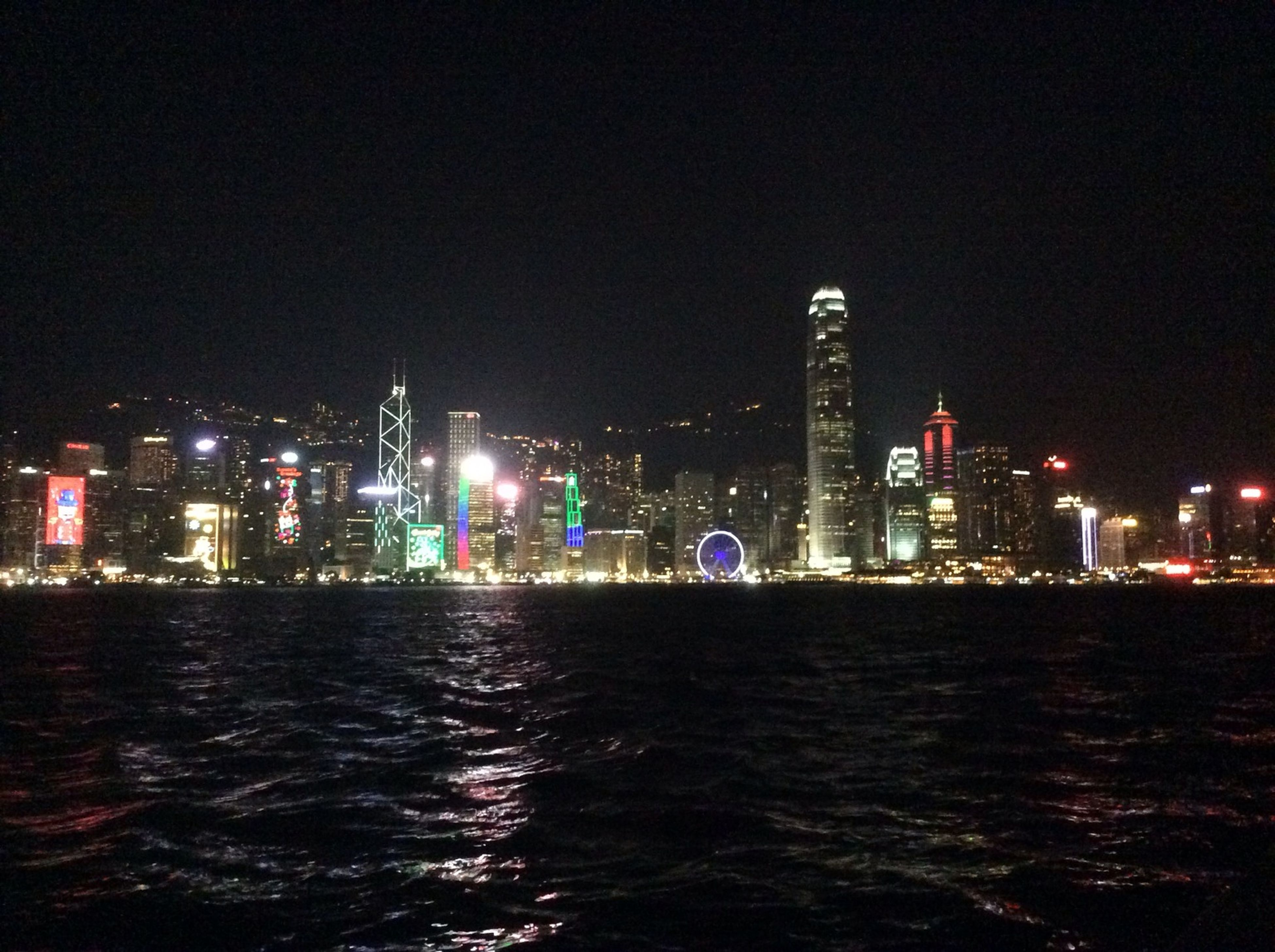 illuminated, night, city, building exterior, architecture, skyscraper, waterfront, built structure, water, cityscape, urban skyline, tall - high, modern, tower, office building, river, clear sky, financial district, sea, reflection