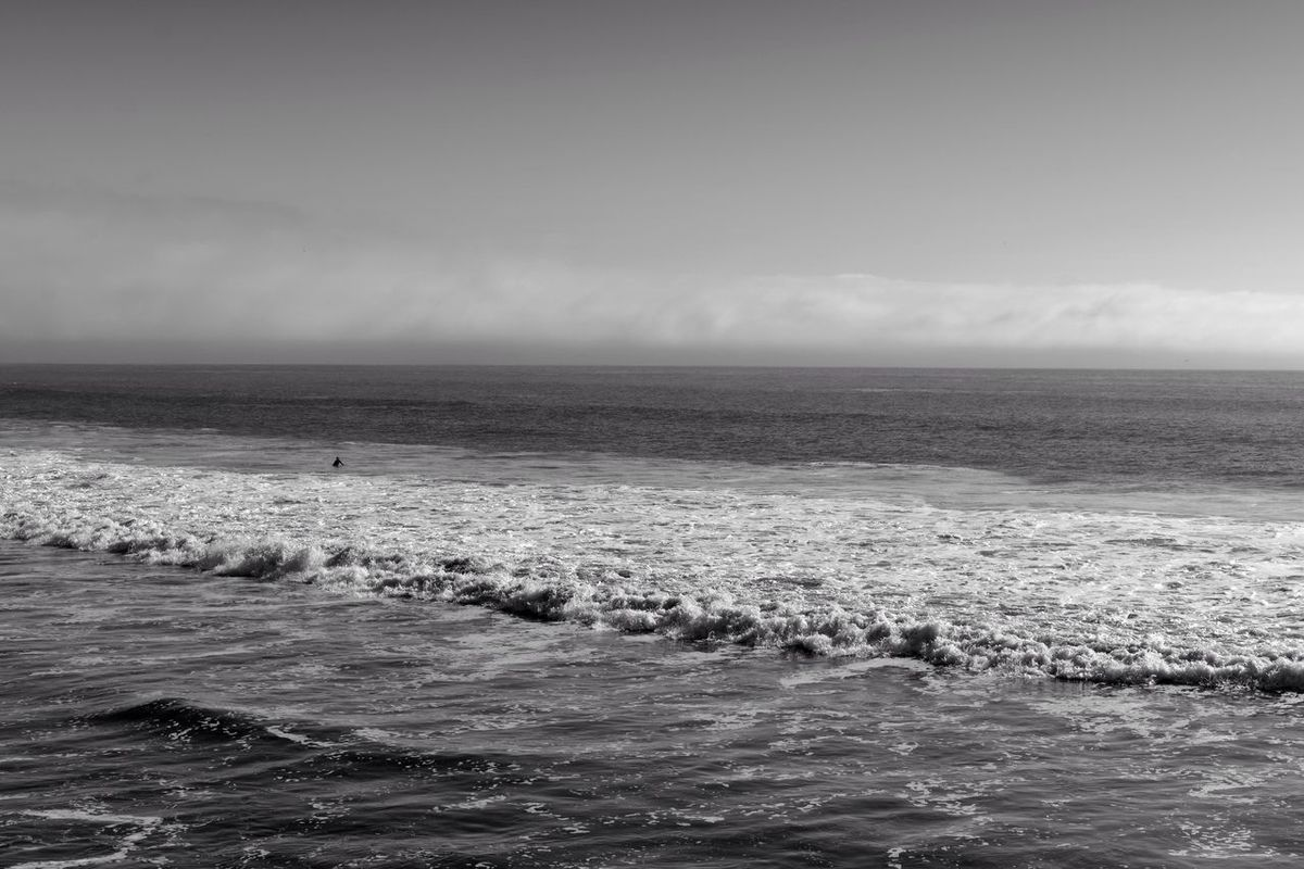 Pacific Ocean Ocean Sea Sky Fog Bank Fog Coastline California Coast Central Coast, CA Black And White Blackandwhite Black & White Water Horizon Over Water Scenics Tranquil Scene Nature Idyllic Rippled Outdoors Day Beach Wave No Budget Photography Black And White Friday