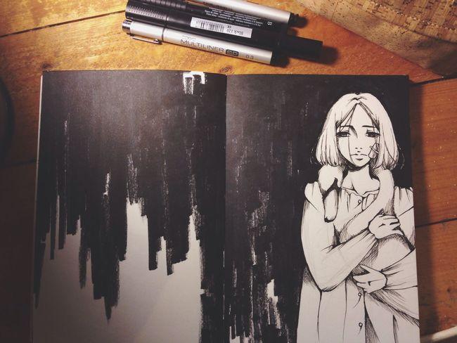 Blackandwhite Girl Animal Art MyArt My Art Original Art, Drawing, Creativity Manga Swan