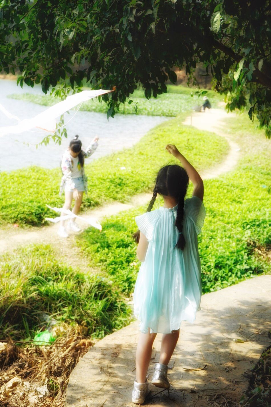 My little fairies❤️ Full Length Two People Rear View Grass Outdoors Childhood Togetherness Tree Bonding Nature Young Women Wedding Dress People Adult Bridegroom Countryside Flying A Kite Girls Nature Happiness