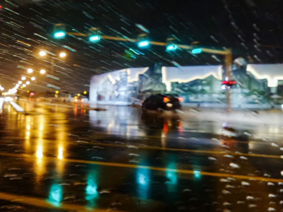 Illuminated Night Reflection Transportation Outdoors Water Road Rain Rainy Weather Rainy Night Bad Weather Bad Weather On Its Way Wet Streets Wet Roads Rain At Night By Car Welcome To Black