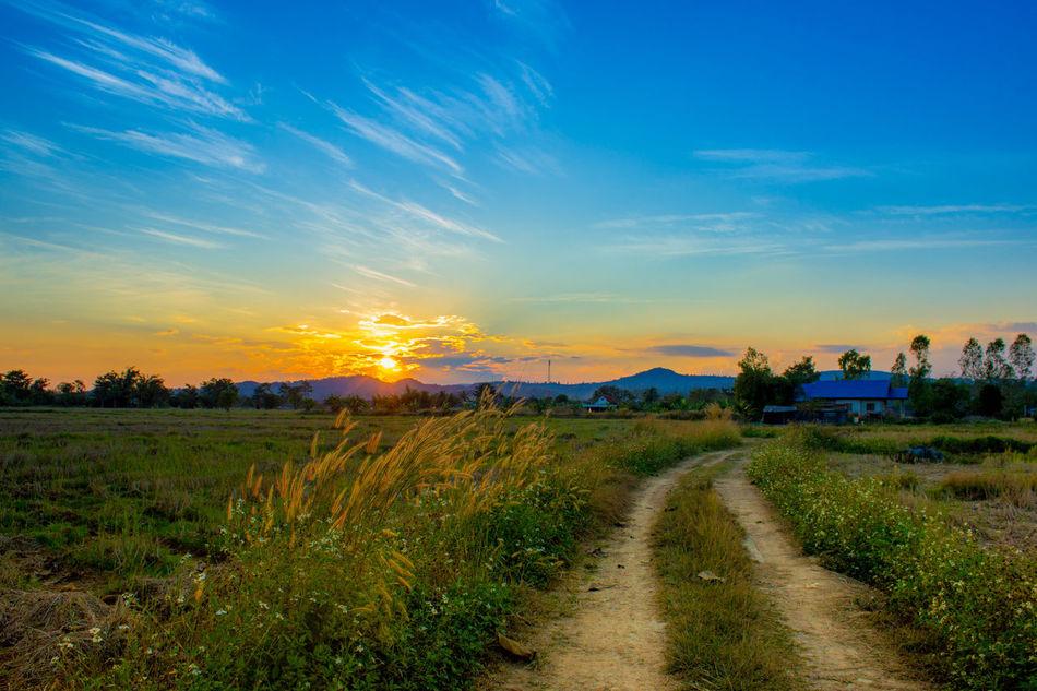 Blue n sky #bluesky #sun Set #sunset #sun #clouds #skylovers #sky #nature #beautifulinnature #naturalbeauty #photography #landscape Beauty In Nature Blue Cloud Cloud - Sky Landscape Nature No People Outdoors Sky Sun Sunset