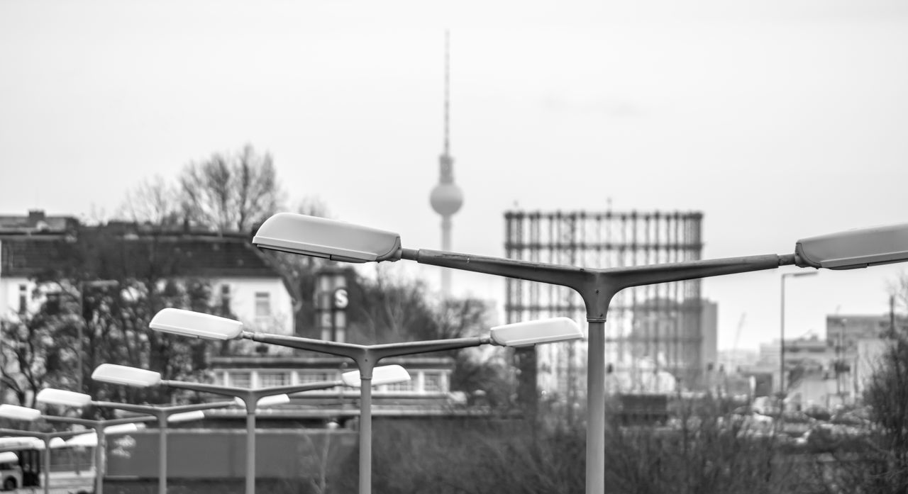Architecture Berlin Photography Berliner Ansichten Black & White Black And White City Cityscape Cityscape Day Gasometer Laternen No People Outdoors Row Sky Skyline Street Lights Tower Travel Destinations TV Tower