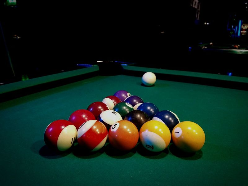 Pool Table Pool - Cue Sport Pool Ball Cue Ball Indoors  Fun Times My Point Of View EyeEmBestEdits EyeEm Best Shots Anotherdayofmylife:)) Thisiscool Hanging Out Photolife Taking Photos Interesting Photographers Check This Out Epicshot Eye4photography  EyeEmBestPics No People Night Shooting Pool RackEmUp Friends