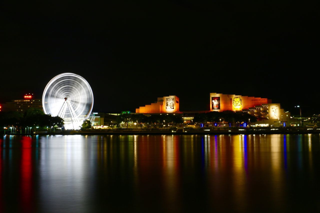 Brisbane South Bank Brisbane Eye Big Wheel Orange Art Centre Night View Nightphotography