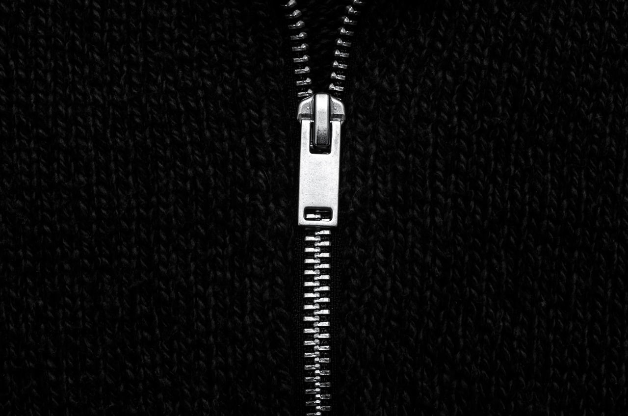 Copy Space Zipper Zip Close-up Minimalobsession Minimalism Black And White Photography Monochrome_Photography Black & White Monochromatic Monochrome Minimal Simplicity No People Metal Metallic Fresh On Market 2017