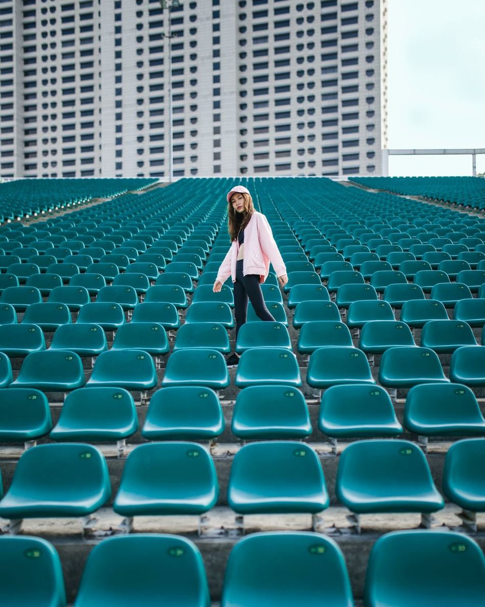 lost at sea Girl Portrait Of A Woman Portraits Of EyeEm Women Around The World Beautiful People One Person Leading Lines Architecture Stadium Outdoors City The Secret Spaces Teal Perspective Architecture_collection Long Goodbye