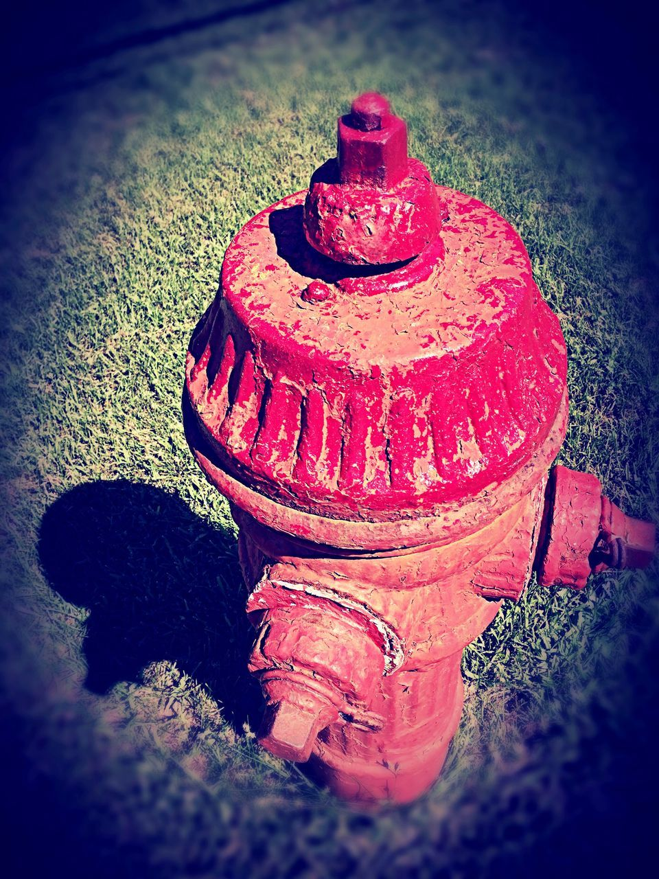 high angle view, fire hydrant, vignette, no people, street, outdoors, lid, day, close-up
