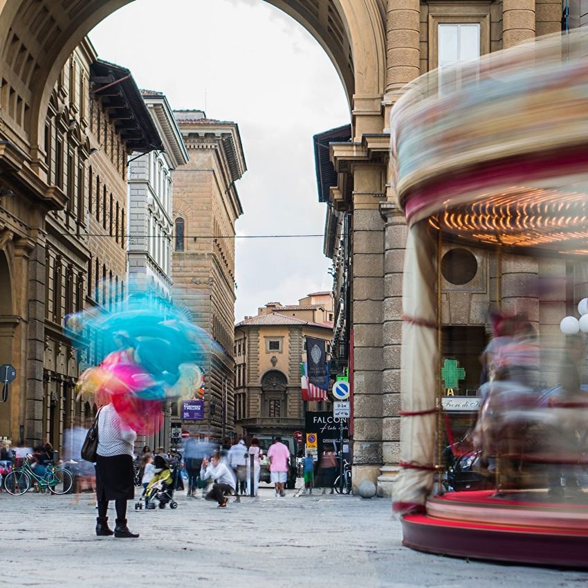 Smudge Slow Shutter Long Exposure Firenze Florence Bella Italia Italy Colors Carousel