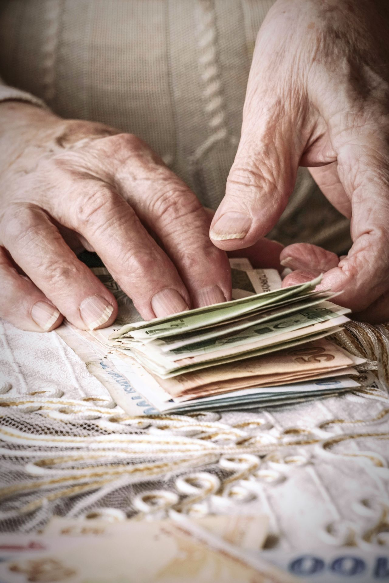 Human Hand Senior Adult Wrinkled Senior Women Close-up Holding People Money TurkishLira Currency Counting Salary Fingers Man Woman Wrinkles Wrinkled Skin Earnings Fresh On Market 2017