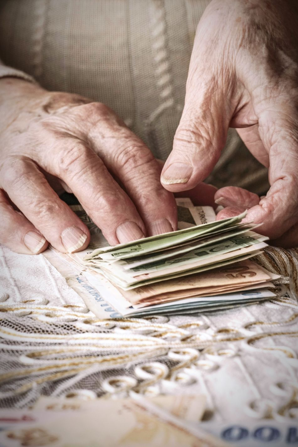 Human Hand Senior Adult Wrinkled Senior Women Close-up Holding People Money TurkishLira Currency Counting Salary Fingers Man Woman Wrinkles Wrinkled Skin Earnings Fresh On Market 2017