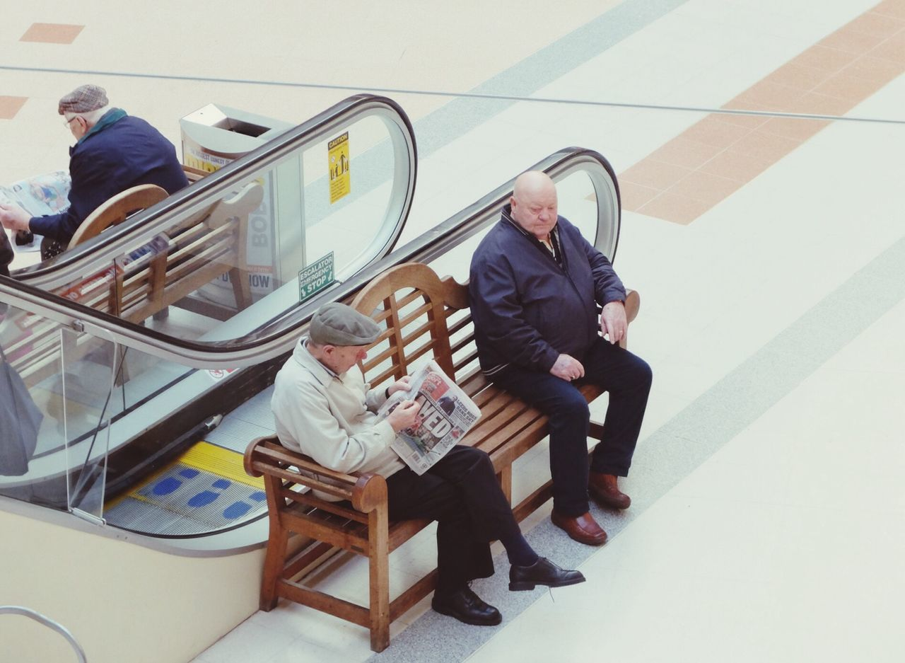 Old Men Sat Down Waiting Shopping Mall Shopping Center EyeEm Best Shots EyeEm Shoppers Pastel Power