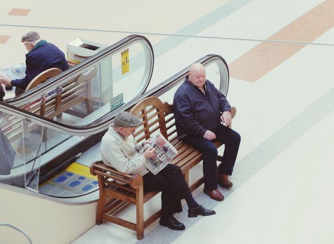 Old Men Sat Down Waiting Shopping Mall Shopping Center EyeEm Best Shots EyeEm Shoppers Pastel Power