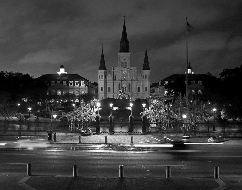 Architecture Building Exterior Built Structure City Jackson Square New Orleans EyeEm Night Outdoors Black And White EyeEm Best Shots Art