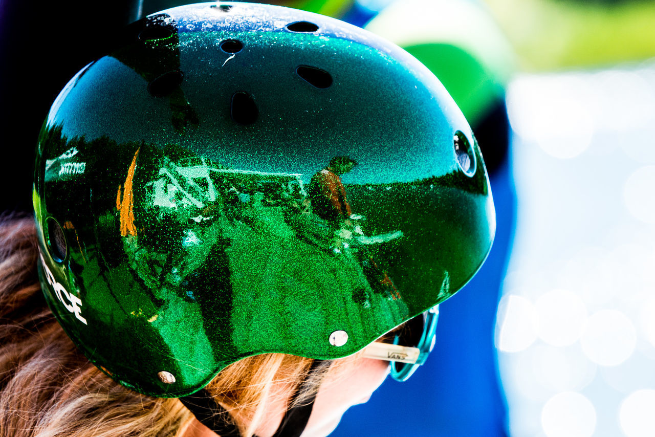 activity close-up Green color helmet Reflection reflections sports wake wakebording