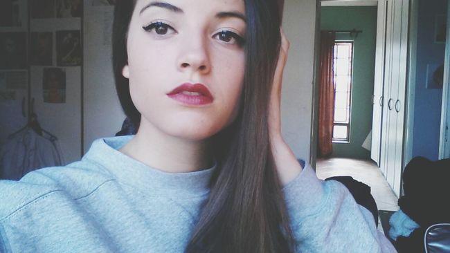 Wintertime Brunette Redlips Girl Selfie JustMe Straightface