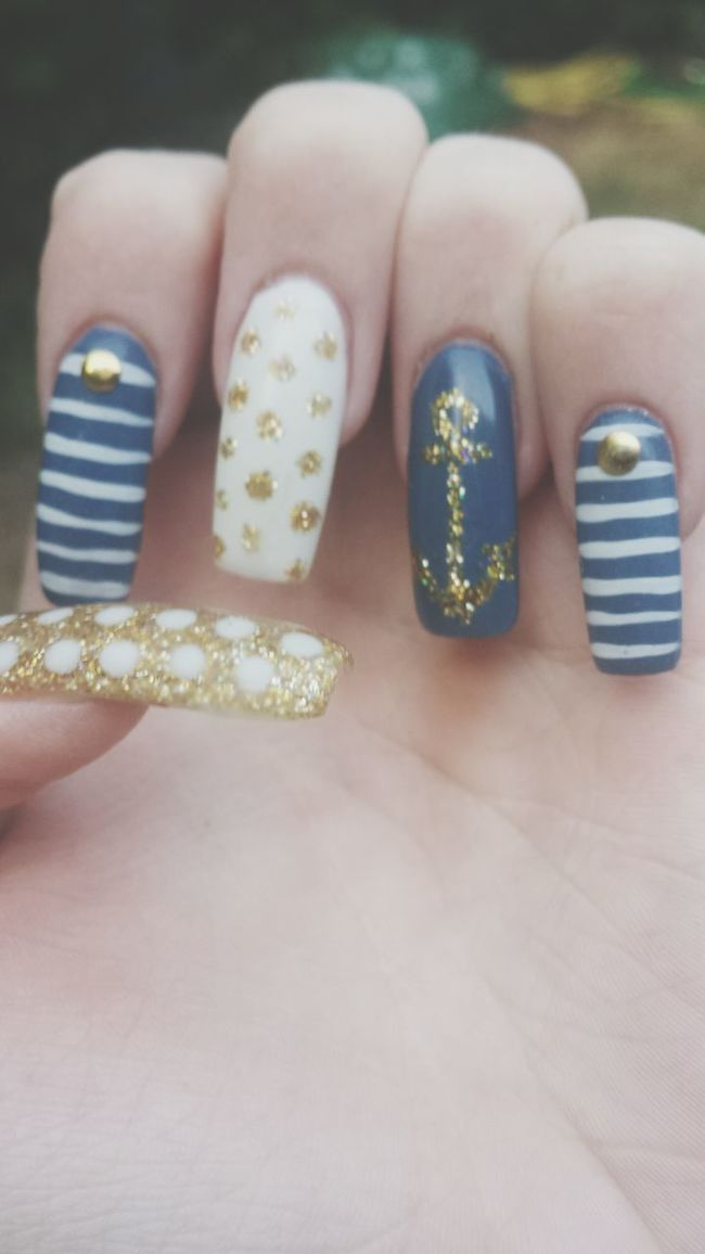 Sailout Gold Blue Nails Nail Art