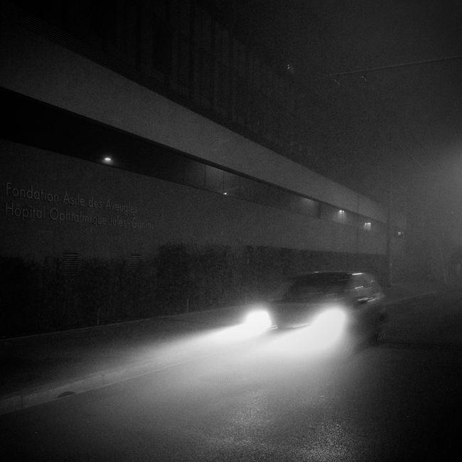 foglights Blackandwhite Black & White Fog Mist Night Lights Nightphotography Night Light And Shadow Film Noir Car On The Road