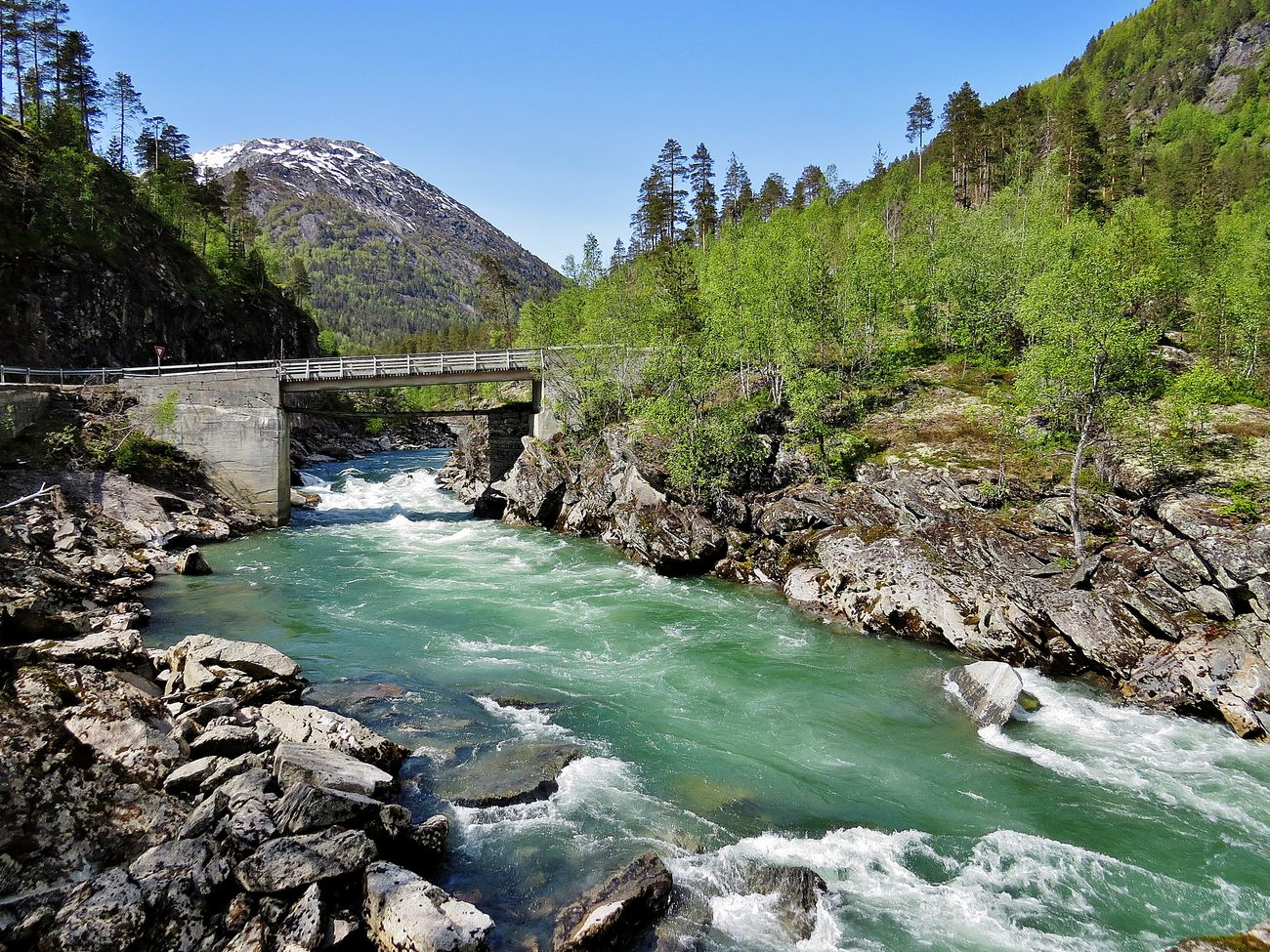Beauty In Nature Bridge - Man Made Structure Bridges Clear Sky Day Glacier River Jostedalen Luster Motion Mountain Nature Outdoors River River Collection Riverporn Riverside Rock - Object Scenics Sky Sogn Og Fjordane Tranquil Scene Tranquility Tree Water Waterfall