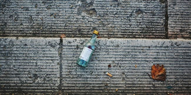 High Angle View No People Textured  Outdoors Day Close-up Glass Drink Alcohol Empty Bottle Autumn City Streetphotography Stairs