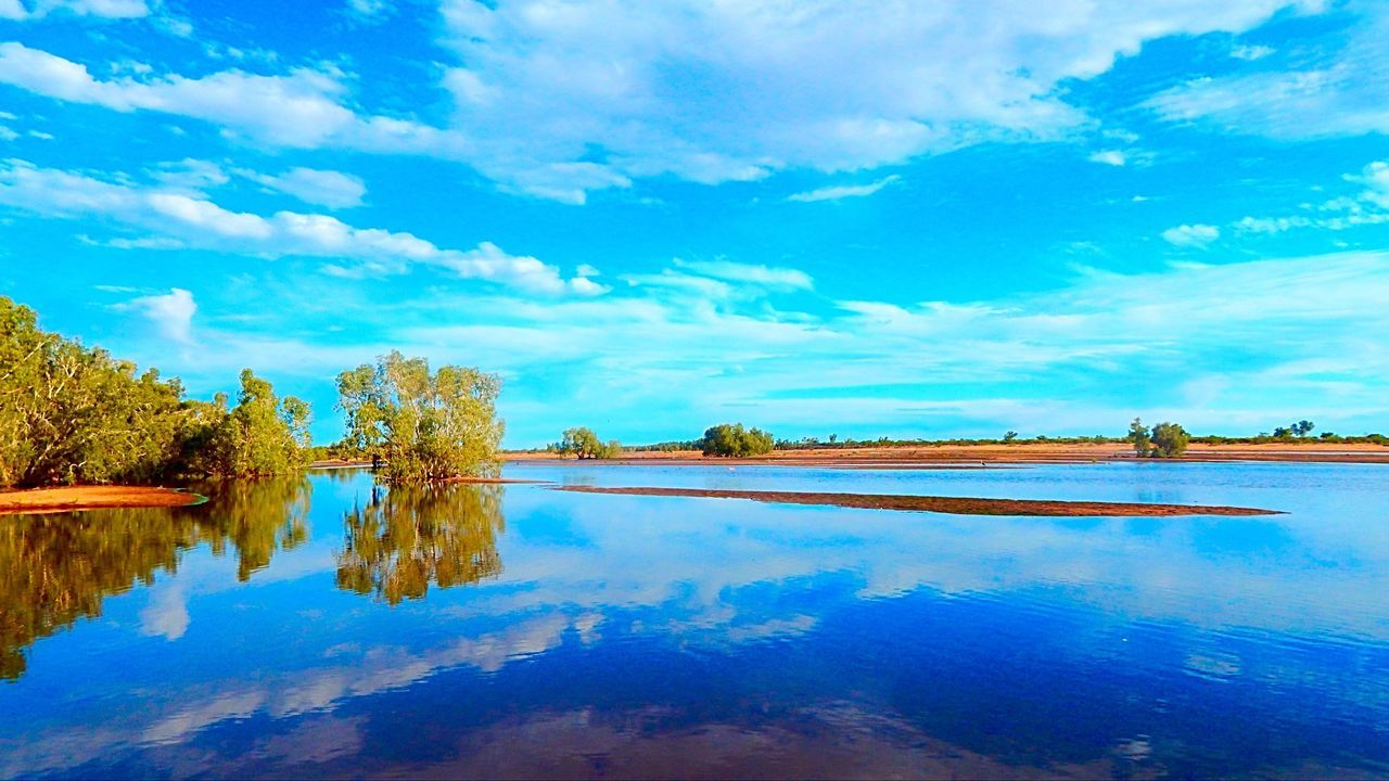 water, reflection, sky, scenics, beauty in nature, tranquil scene, cloud - sky, nature, tranquility, standing water, lake, blue, outdoors, tree, no people, day