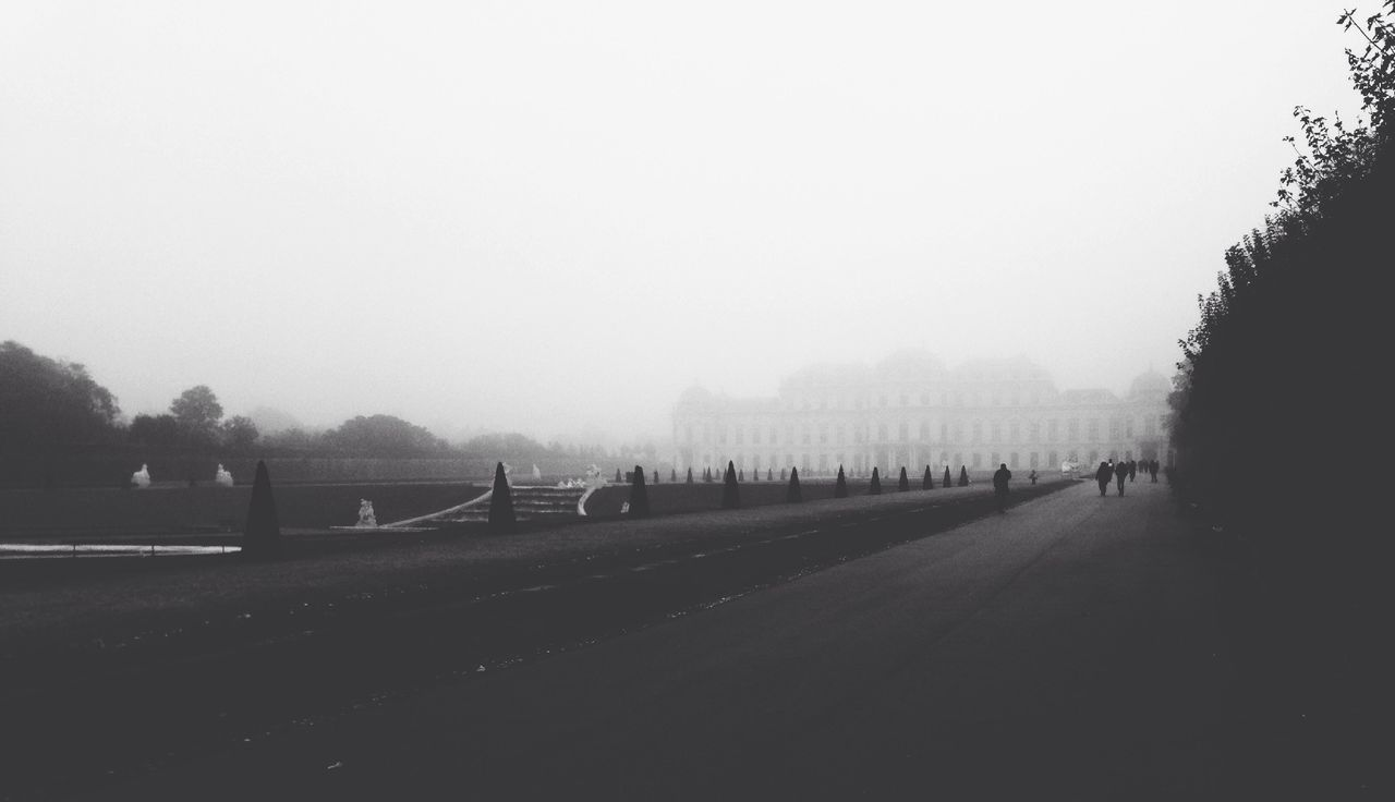 Street And Building In Foggy Weather
