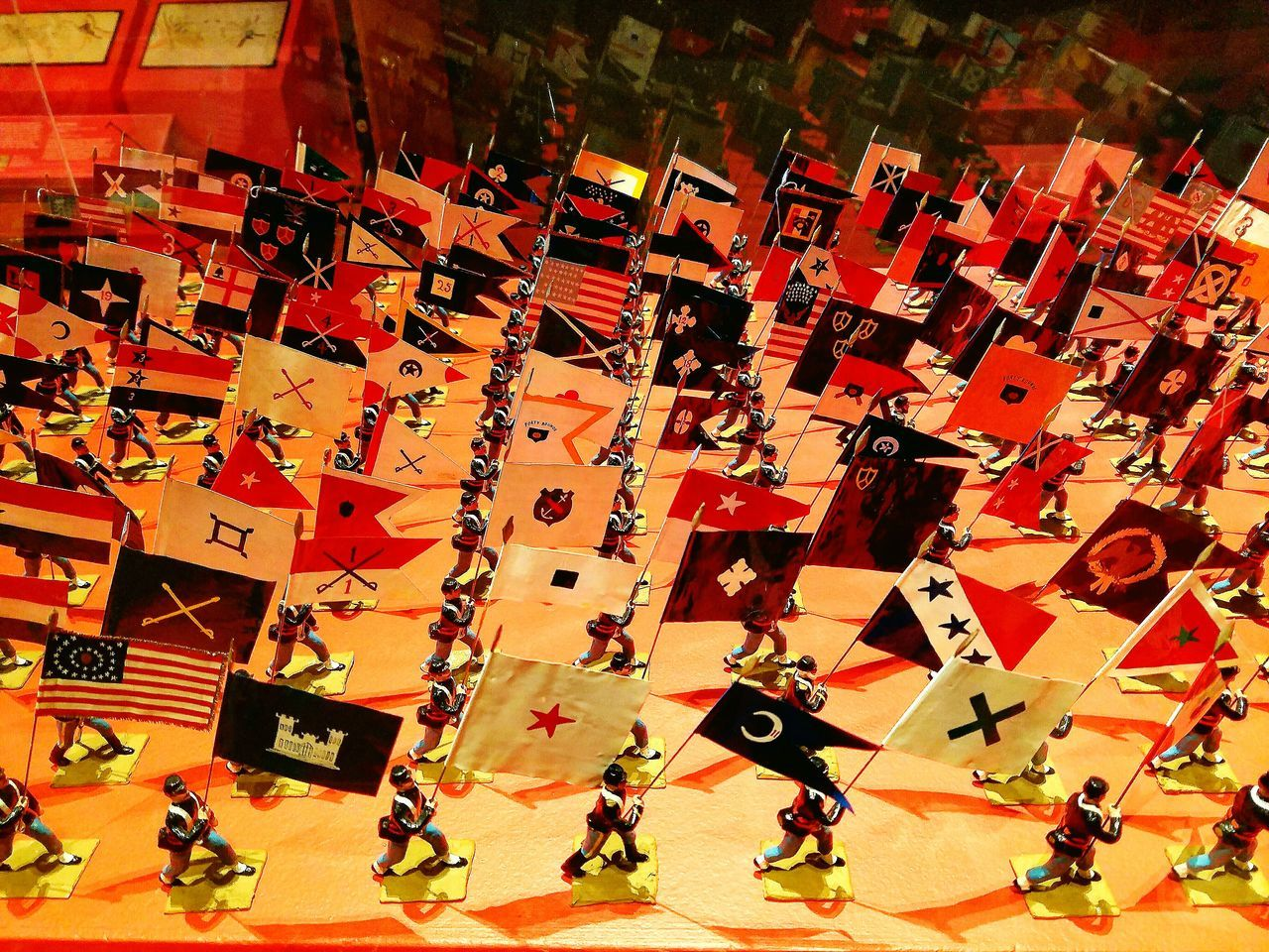 Miniature Civil War Regiment Flags- The Heritage Museum and Garden Sandwich Mass HeritageMuseum Miniature Civil War Museum Display