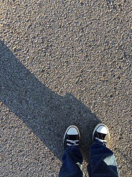 Low Section Shoe Asphalt Standing Human Leg Road One Person Day