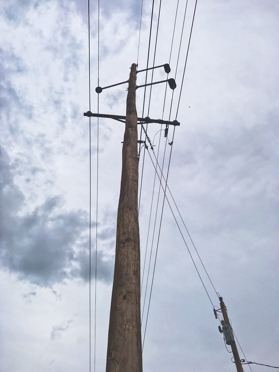 connection, cable, sky, cloud - sky, low angle view, power line, power supply, day, electricity, outdoors, fuel and power generation, technology, electricity pylon, no people, telephone line, bird, animal themes