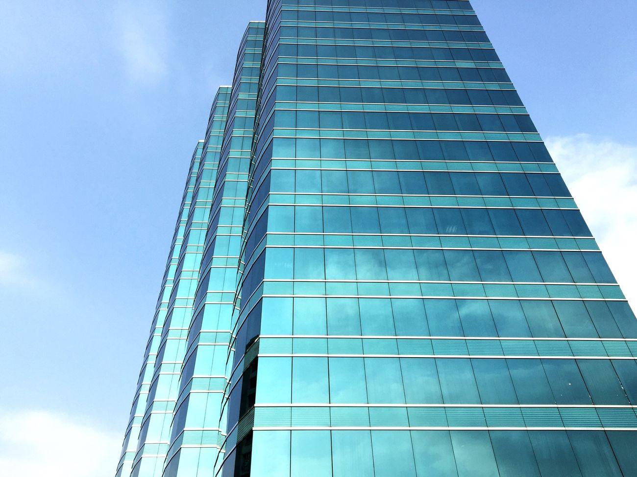 Hong Kong Blue Sky Blue House Skyscraper Blue Glass Reflection Clouds