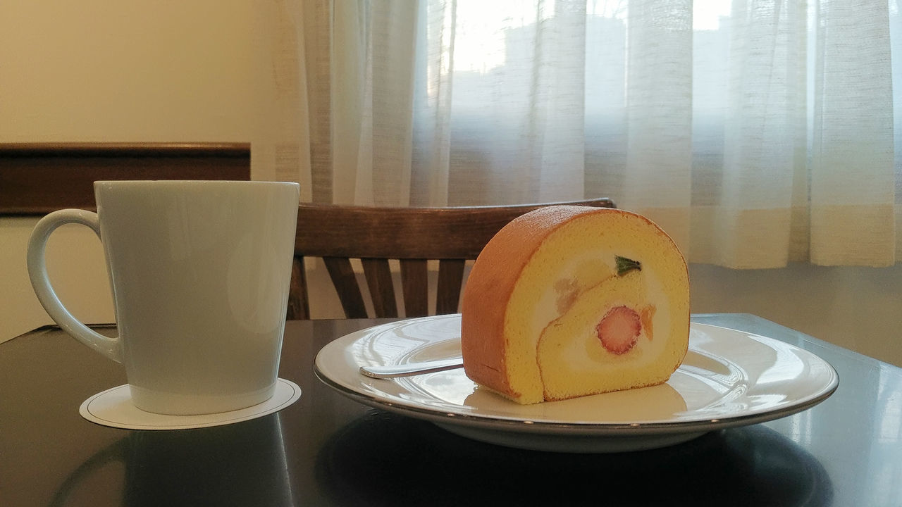 Cake Cake♥ Close-up Coffee Coffee Cup Cup Dessert Domestic Room Fruits Furniture Home Refreshment Strawberry Sweet SwissRoll Temptation