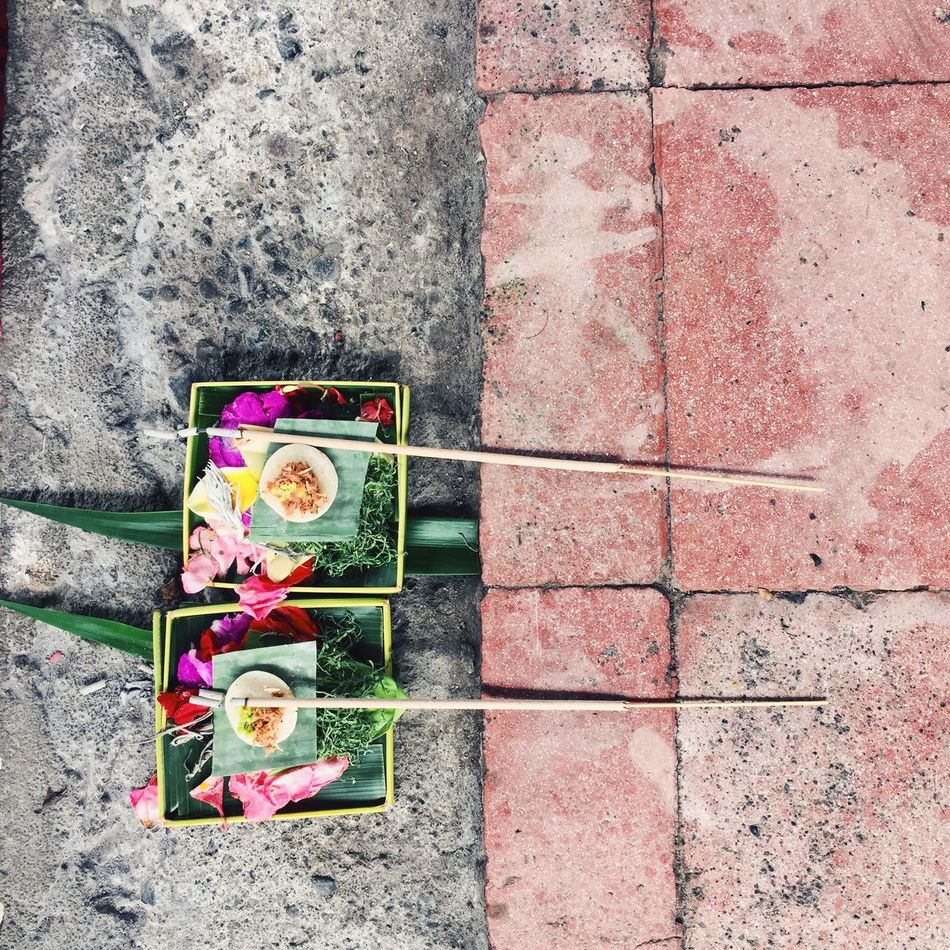 Daily offering at a Balinese house, Klungkung, Bali, Indonesia. Architecture Bali Bali, Indonesia City Day Flower From Above  Handmade INDONESIA IPhone IPhoneography Klungkung Multi Colored No People Offering Outdoors Pink Color Religion Religious  South East Asia Square