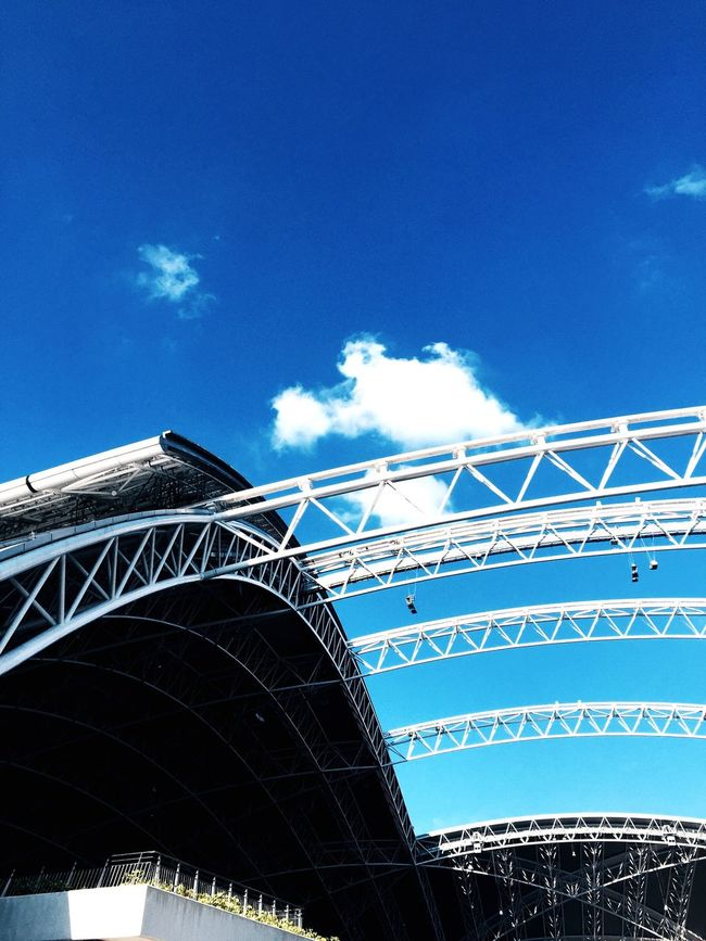 Sports Hub Stadium Architecture Clouds Low Angle View
