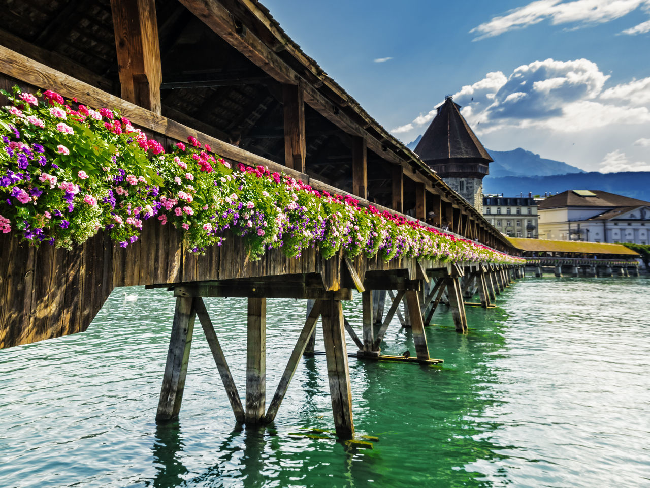 The monastery bridge Architecture Bridge Bridge - Man Made Structure Building Exterior Built Structure Connection Day Flower Lake Multi Colored Nature No People Outdoors Sky Sunlight Travel Destinations Water