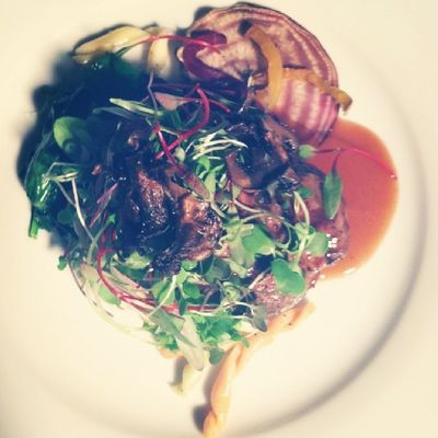 Herb grilled lamb chop with beet salad. Theroamingtablesociety