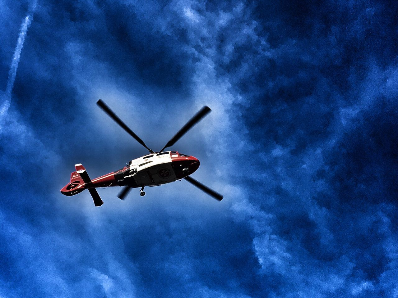 low angle view, flying, sky, blue, transportation, air vehicle, mode of transport, mid-air, cloud - sky, airplane, outdoors, day, helicopter, no people, red, nature