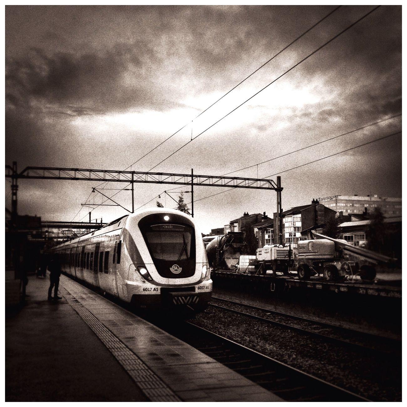 Commuting Train Station Traveling Rainy Days Monochrome