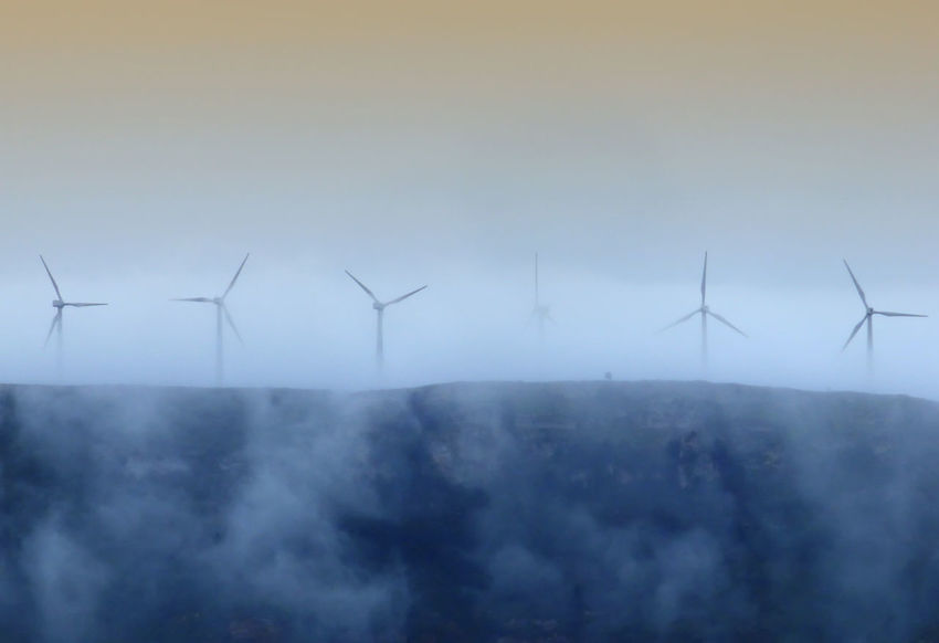 Alternative Energy Day Nature No People Outdoors Renewable Energy Sky Technology Wind Power Wind Power Generator Windmills In The Mountains Of The Coast Of Tarragona-Spain